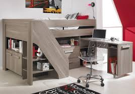 Furniture : Cool Cool Kids Beds Design With Gray Wooden Loft Bed Frame  Fitted Storage Image Of On Model Gallery Kids Beds With Storage And Desk kids  beds ...