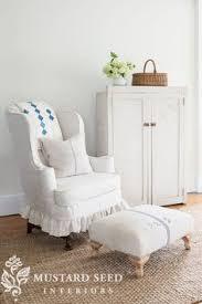 slipcovered wing chair grain sack ottoman