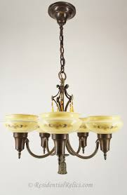 moe bridges 5 light chandelier with cased stenciled shades circa 1920s