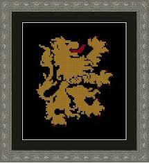 heraldic lion figure monochrome LenaCrossStich