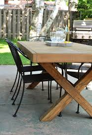 diy patio table.  Table Build This DIY Outdoor Table Featuring A Herringbone Top And X Brace Legs  Would Also Inside Diy Patio