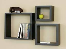 ... Box Wall Shelving Smooth Painted Classic Design Small Square Black  Stayed Drawer Strong Wooden Material Unique ...
