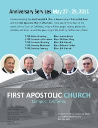 Anniversary Services Brochures | First Apostolic Church of Lompoc