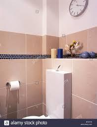 Ecke Des Modernen Beige Weiß Gefliestes Badezimmer Stockfoto Bild