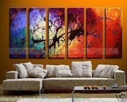 Outstanding Result 6 Piece Wall Art Abstract Super Hand Made Paintings  Living Room Big Long Couch
