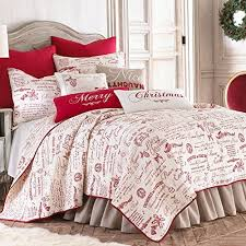 Noelle Full/Queen Quilt Set, White/Red Script, Cotton Christmas Holiday