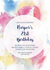 watercolour 21st birthday invitation birthday invitations