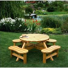 round picnic table with benches picnic table bench with back plans
