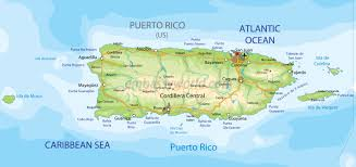 puerto rico map (physical)  la chuleta congelÁ'