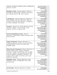 Customer Service Manager Performance Appraisal