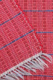 old barn red indigo blue woven striped cotton rag rug vintage kitchen door mat