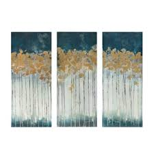 midnight forest gel coat canvas wall art with gold foil embellishment 3 piece set on outdoor beachy wall art with wall art joss main