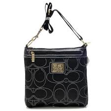 ... Coach Swingpack In Signature Medium Black Crossbody Bags AWW ...