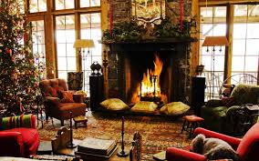 Cozy Home Armchairs Christmas Chimney Tree Decoration Fireplace Wallpaper  Wide