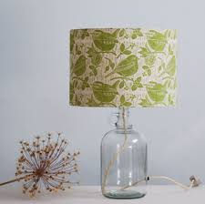 robin wren block printed lampshade drum glass flagon bottle lamp base made by
