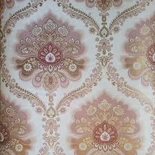 Het Ornament Behang Bestaat Uit Rose Gouden En Beige Vormen