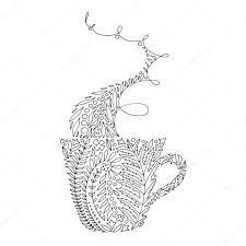 Kopje Warme Drank Koffie Thee Met Damp Kleurplaat Paginaontwerp