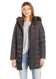 calvin klein women s down puffer long coat with faux fur trimmed hood l
