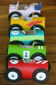 Your little race car driver will love making these toilet paper tube  cars.and racing them! So fun for a DIY kids craft project!