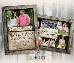 Wedding Card Collage Rustic Wood Frame Wedding Photo Card Collage Invitation Rustic