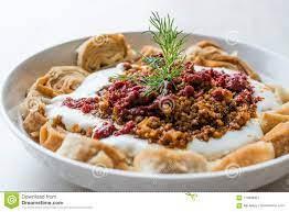 Das Türkische Manti Mit Jogurt, Hackfleisch Und Fried Butter Sauce From  Artvin Genanntem Silor/Siron/Ziron Rollte Rohen Teig Und Stockbild - Bild  von nachtisch, hintergrund: 119638327