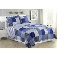Suzy Plaid Blue Queen Size 3 Piece Quilt Set - Free Shipping On ... & Suzy Plaid Blue Queen Size 3 Piece Quilt Set Adamdwight.com