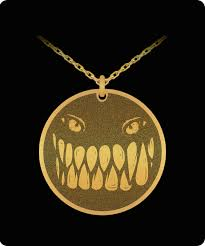 fright face laser etched pendant necklace great for front