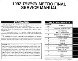 1992 geo metro repair manual original table of contents
