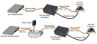 100 1000 base t power over ethernet poe splitter tap diagram
