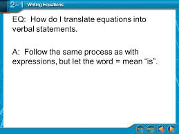 eq how do i translate equations into verbal statements