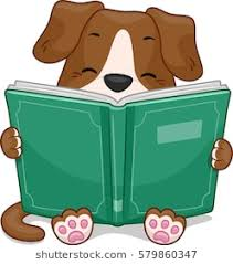 mascot ilration featuring a cute little dog happily reading a storybook
