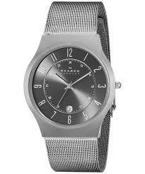 gunmetal grey dial titanium case mesh bracelet 233xlttm men s watch skagen gunmetal grey dial titanium case mesh bracelet 233xlttm men s watch