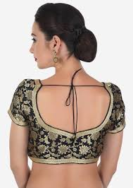 Buy Black Brocade Blouse Features With Gold Lace Online - Kalki Fashion