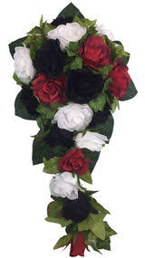 white wedding bouquets Wedding Bouquets Black And White red, white and black silk rose cascade artificial silk bridal wedding bouquet black and white silk wedding bouquets