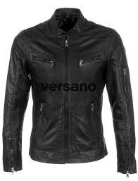 men s leatherlook jacket black versano trr36 front