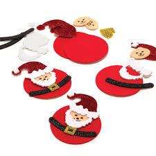 Glitter Foam Christmas Santa Decorations - 6 Pack