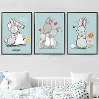 Rabbits Love and Miss <b>Canvas Painting Animals</b> Wall <b>Art Posters</b> ...