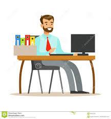Homme Travaillant Son Bureau Avec L Ordinateur Et Dossiers