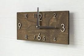 large rectangular wall clock wooden wall clock handmade dark brown wall clock rectangular wall clock modern