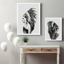 native american girl wall art canvas prints poster home living bedroom canvas wall art