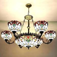 ceiling lights tiffany ceiling light shade metal decor beige stained glass three shades lamp style