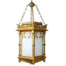 gothic lantern lighting. English Gothic Revival Gilt And Zinc Hanging Three-Light Hall Lantern Lighting