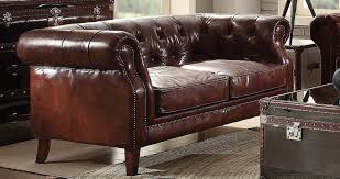 acme 53626 aberdeen vintage dark brown leather loveseat classic traditional 3 3 of 5