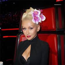 christina aguilera s curly updo on the voice see her latest beauty look hollywood life