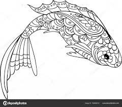 рыба Zentangle стиль раскраска для взрослых и детей антистресс