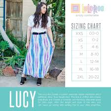 Lularoe Lucy Skirt Sizing Chart Flowy Full Length Skirt