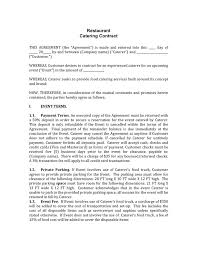 Catering Agreement Restaurant Catering Contract In Word And Pdf Formats