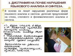 Презентация на тему quot Нарушение письменной речи у детей  ДИСГРАФИЯ НА ПОЧВЕ НАРУШЕНИЯ ЯЗЫКОВОГО АНАЛИЗА И СИНТЕЗА В основе ее лежи
