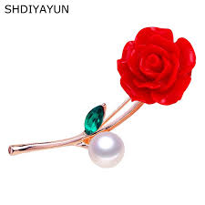 Vermilion Red Brooch Pins Natural Freshwater <b>Pearl</b> Jewelry ...