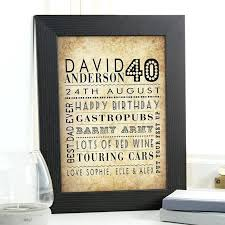 40th birthday presents for him gift of personalized age word art present ideas husband